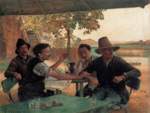 La Discussion Politique - The Political Discussion (painting by Emile Friant)
