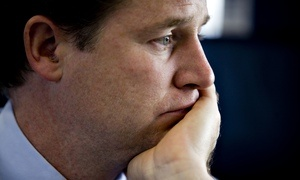 Nick Clegg, looking unhappy