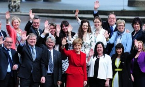 Nicola Sturgeon with some of her newly elected MPs in Edinburgh.