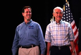 Ron Paul and Rick Santorum at the Ames Straw Poll | Gage Skidmore / Flickr